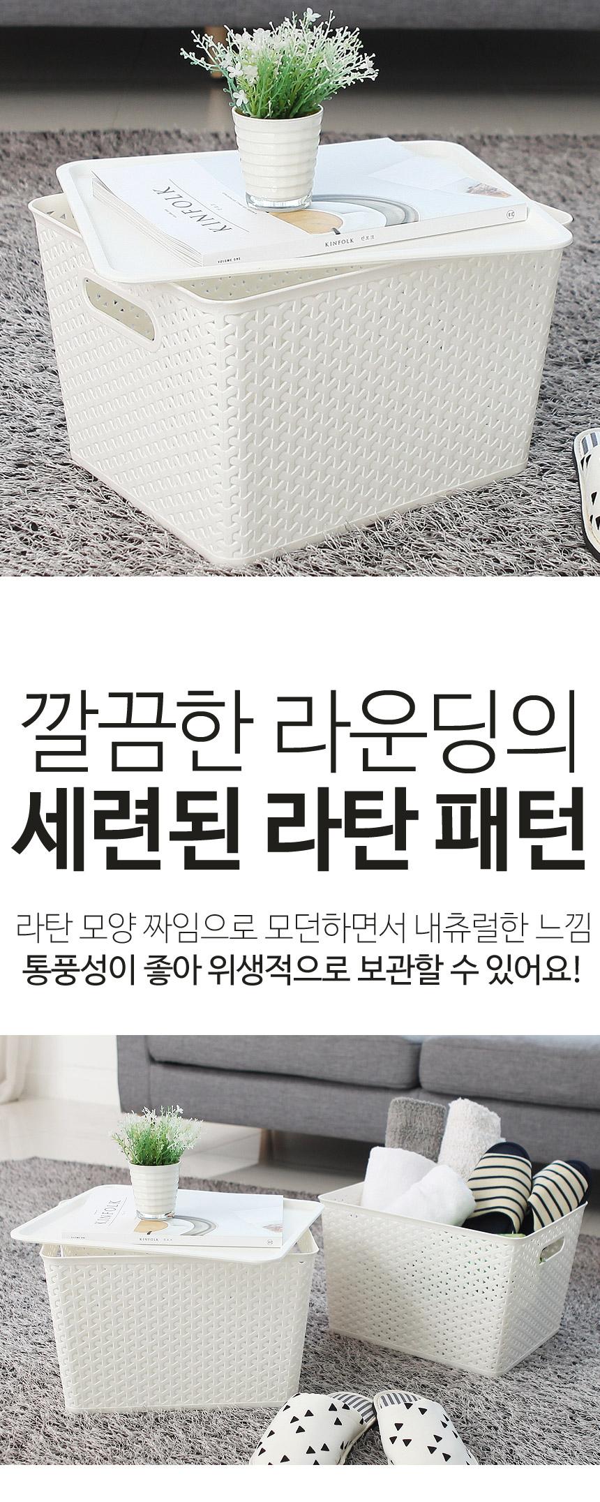 라탄 패턴 뚜껑바구니(대) - 더홈, 9,900원, 바구니, 플라스틱 바구니