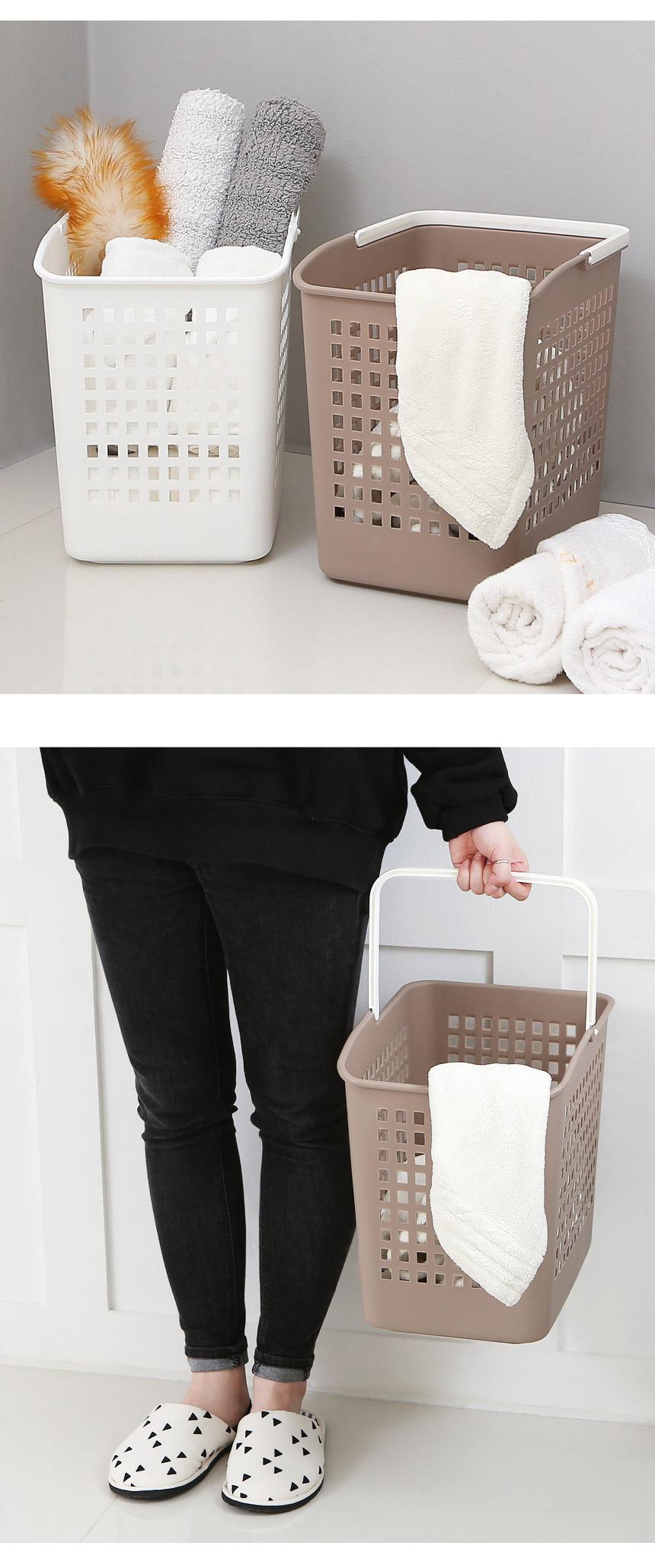모던 손잡이 빨래바구니 - 더홈, 7,900원, 세탁용품, 빨래바구니